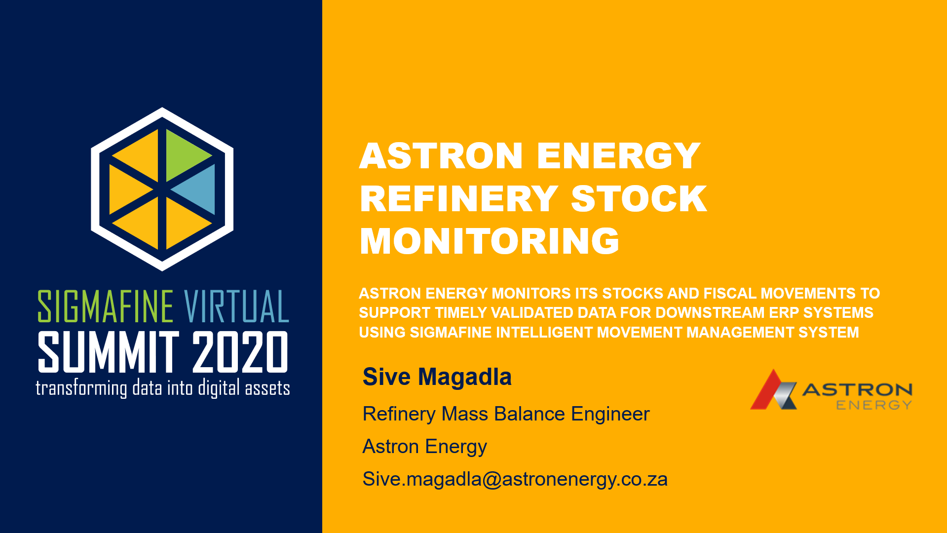 Monitoring stocks and fiscal movements to supply timely integration to Astron Energy ERP using Sigmafine IMM